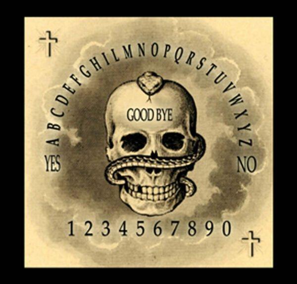 TAVOLA SEDUTA SPIRITICA - SKULL CM 29 X 29 + MINILIBRO + PLANCHETTE