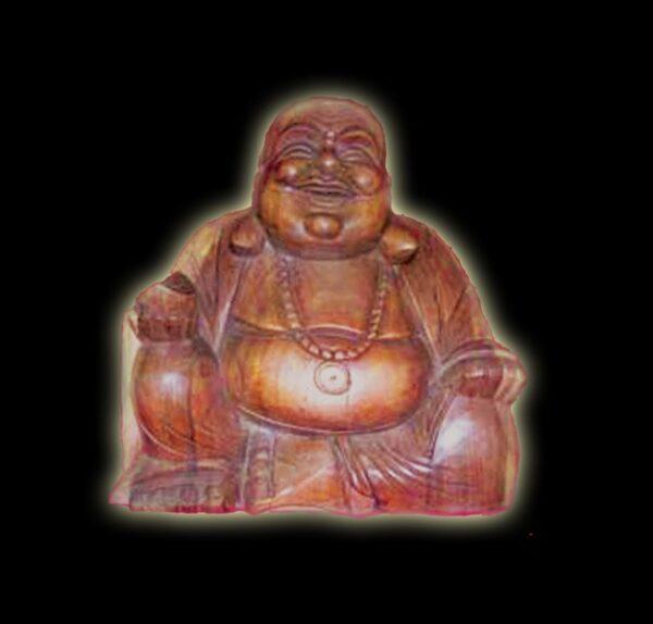 STATUA IN LEGNO BUDHA (BUDDHA) HAPPY MAN CM 43X38