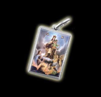 Medaglia - Immagine a colori MADONNA DEL CARMINE -  argento 925