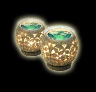 Diffusore sferico per essenze in pietra intarsiata - made in India