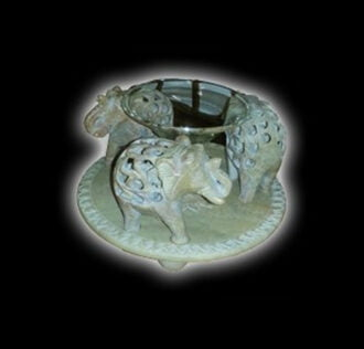 Aromatherapy lamp made of inlaid stone - elephant - made in India