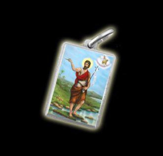 Medaglia - Immagine a colori SAN GIOVANNI BATTISTA - argento 925