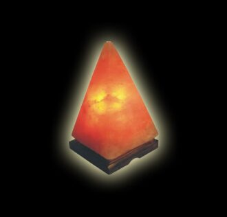 NATURAL ROCKSALT LAMP PYRAMID - WOOD BASEMENT