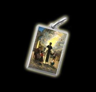 Medaglia - Immagine a colori SAN MARTIN DE PORRES -  argento 925