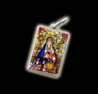Medal - Coloured image MATER DOLOROSA - silver 925