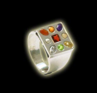 NAVARATNA RING - THE NINE GEMS OF VEDIC ASTROLOGY (man models)