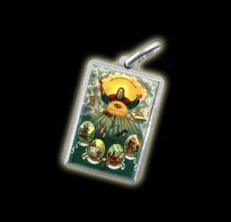 Medaglia - Immagine a colori ONNIPRESENZA DI DIO -  argento 925