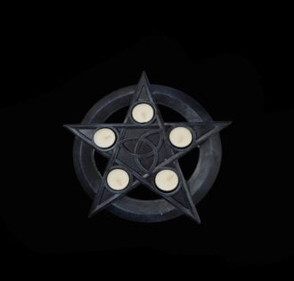 ALTAR RESIN PENTACLE  WITH CANDLES CM 30