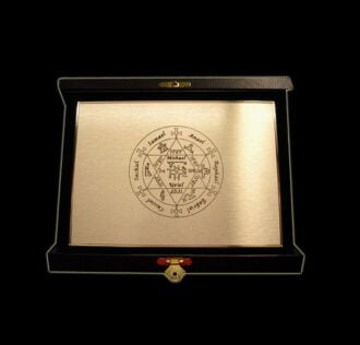 ANGELIC ESAGRAMMA - GOLDEN BRASS PLATE - 16 X 12 CM WITH VELVET BOX