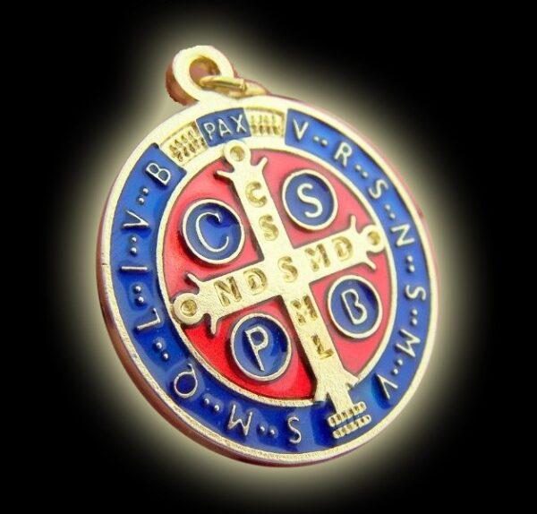 Medaglia di San Benedetto a colori (misura cm 3)