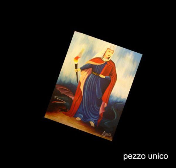 SAINT MARTHA CATHOLIC - HAND PAINTED ON CANVASS (OIL) CM 14X31 - SANTO DOMINGO