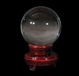 Sfera divinatoria in cristallo ottico diametro 200 mm con base girevole