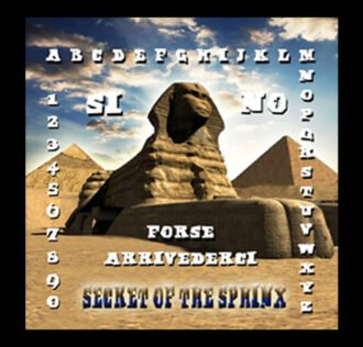TAVOLA SEDUTA SPIRITICA SECRET OF THE SPHINX CM 29 X 29 + MINILIBRO + PLANCHETTE