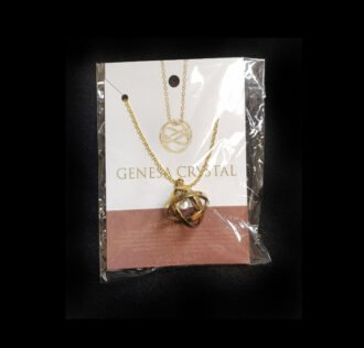 GENESA CRYSTAL PENDANT BRASS AND STEEL